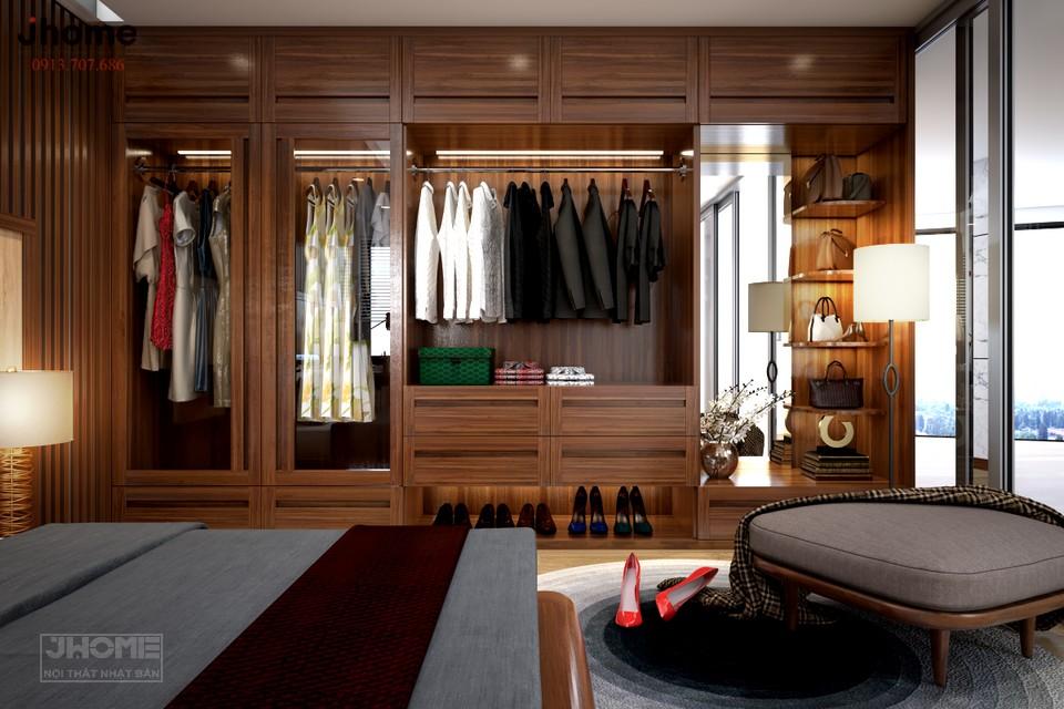 Màu gỗ óc chó nâu trầm phòng ngủ