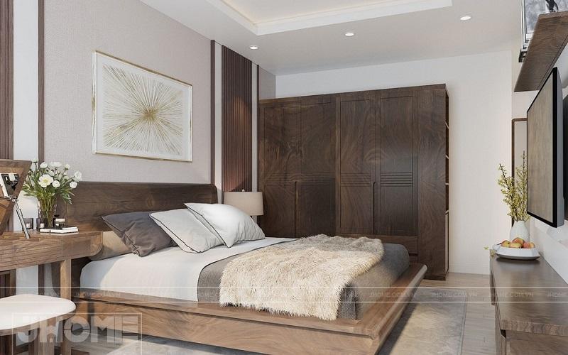 Mẫu giường gỗ óc chó hiện đại