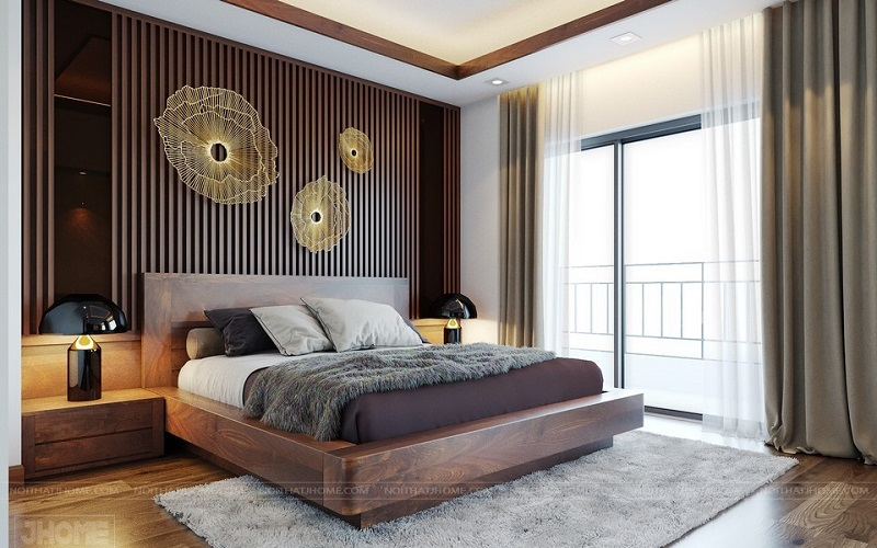 mẫu giường gỗ óc chó tại chung cư Ciputra