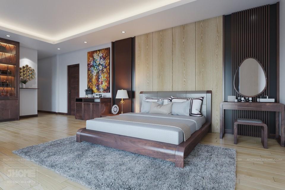 mẫu giường ngủ gỗ óc chó biệt thự Quảng Ninh