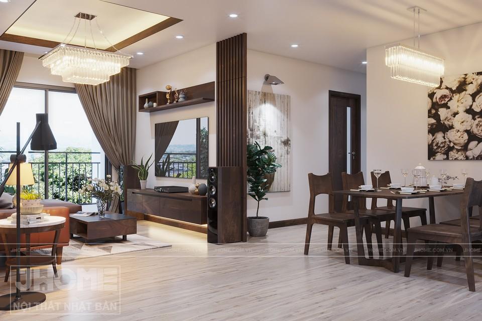 nội thất màu gỗ óc chó cho không gian sang trọng